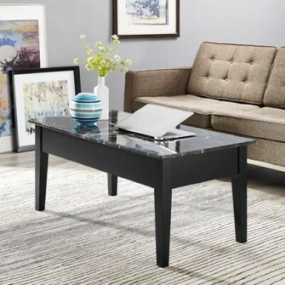 Marble Coffee Table Faux Top Lift Center Storage Furniture