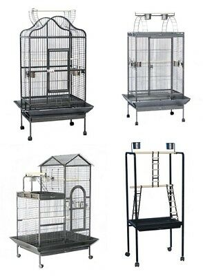 XL Metal Pet Bird Parrot Canary Cage With Play Roof Top Wheels