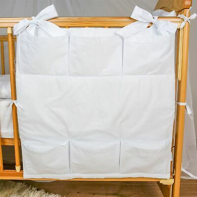 Nursery Baby Cot Tidy / Organiser for Cot/ Cotbed/ Cot Bed - Plain White