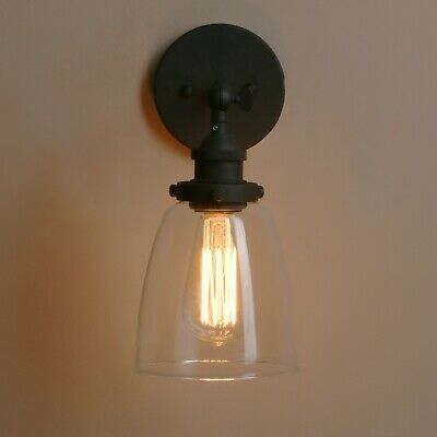 Retro Industrial Vintage Glass Sconce Antique Brass Fixture Wall Light Wall Lamp