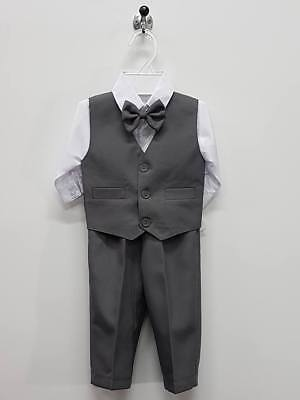 Boys Wedding Party Set size 0000 - 1 Shirt Vest Pants Bowtie Outfits  B135S Grey