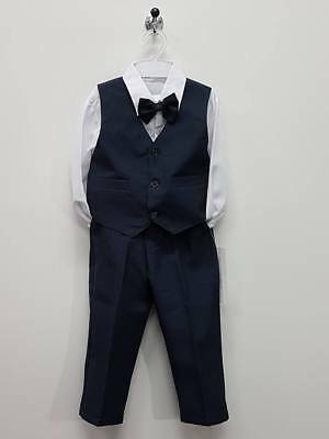 Boy Wedding Party Set size 4 5 Shirt Vest Pants Bowtie Dressy Outfits B135M Blue