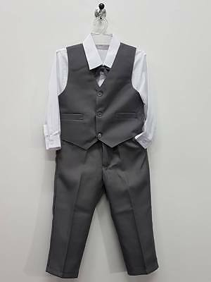 Boy Shirt Vest Pants Set size 3 5 Formal Wedding Party Dressy Outfits B135M Grey