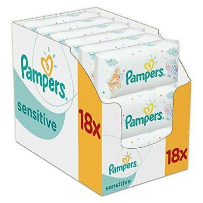 Pampers Sensitive Protect Baby Wipes Clean Safe Gentle - 18 Packs (1008 Wipes)