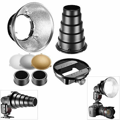 Neewer Beauty Dish Flash Reflector Diffuser Lamp Shade Kit +Honeycomb Grid Snoot