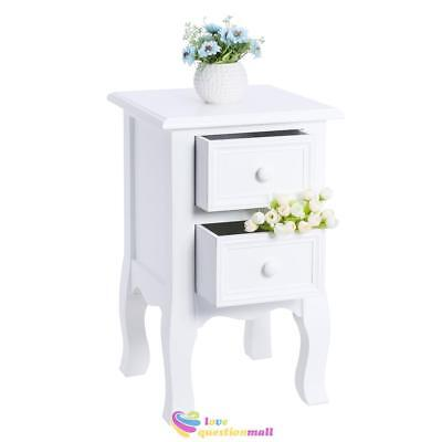 Pair Of Shabby Wooden Bedside Table Nightstand Organizer Cabinet 2 Drawer White