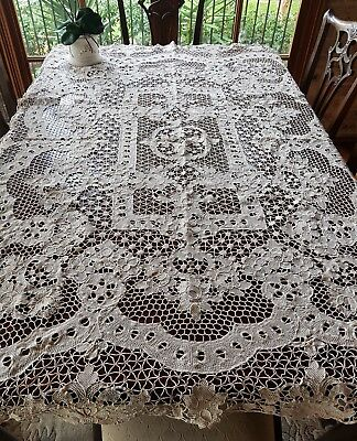 Antique Ecru Reticella Filet Point De Venise tablecloth Needle Lace Retichieu