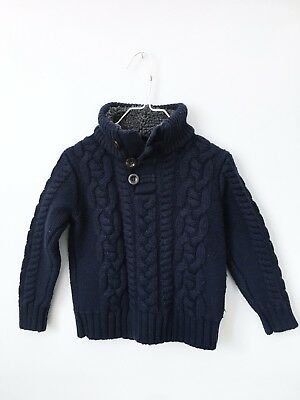Baby Gap Boy's Navy Blue Chunky Cable Knit Sweater, Leather Elbow Patches, 3T