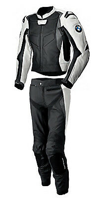Mens Sports BMW Pants & Jacket Racing Motorcycle Cowhide Leather 2 Piece Suit US