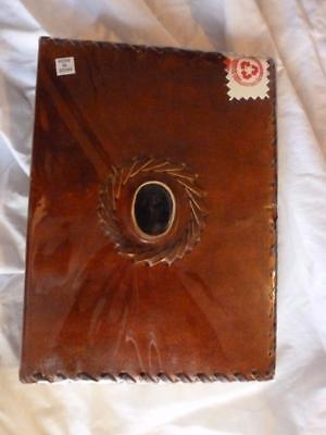 LEATHER covered Journal Book of Shadows ANTIQUED WICCA