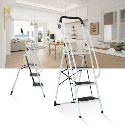 Folding 2-4 Step Ladder with Handrails for Home,Anti-slip Safty Steel Step Stool