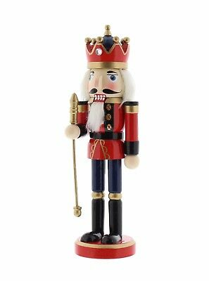 WOODEN NUTCRACKER SOLDIER with STAFF & CROWN CHRISTMAS DECORATION FESTIVE 27cm