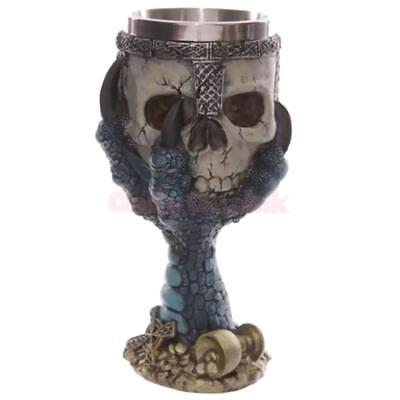 3D Skull Gothic Halloween Spooky Stainless Cup Goblet Bar Kitchen Dishware Glass