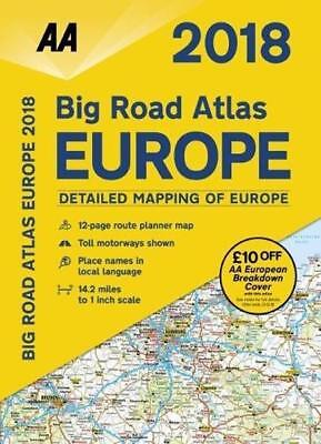 AA Big Road Atlas Europe 2018 Map Spiral Bound A3 Size 78671
