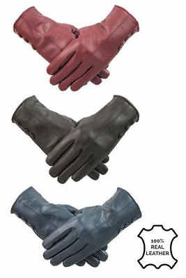 Womens Ladies Red Wine Leather Gloves Winter Warm Fleece Lined Button Design
