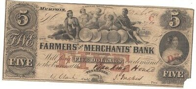 OBSOLETE 1852 $5.00  The Farmers' and Merchant' Bank, MEMPHIS, CLEAR SIGNATURES