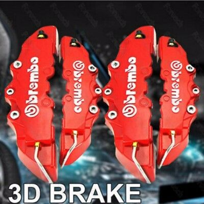 4 pcs Red 3D Brembo Style Front Rear Universal Disc Car Brake Caliper Covers @01