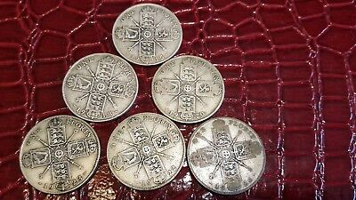 6x Great Britain Silver Florins 1915 1918 1920 1922 1923 & 1926 all Very Good ++