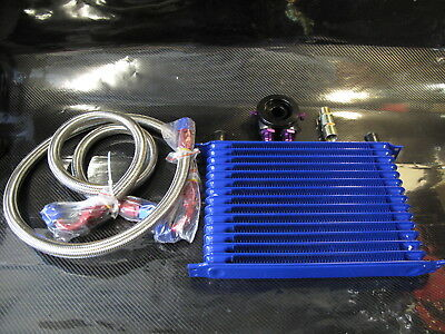 Epman Universal Heavy Duty Oil Cooler Kit 15 Rows Blue Drifting Rally Turbo Car