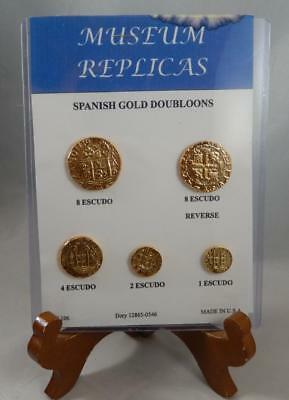 Made in USA Spanish Gold Doubloons Museum Copy Set of 5 Tokens CB296