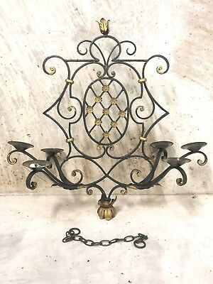 early AntiQue Wrought Iron Gilt Candle Chandelier