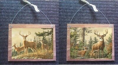Deer Pictures Buck Doe Rustic Lodge Log Cabin Wall Hangings Home-Decor Plaques
