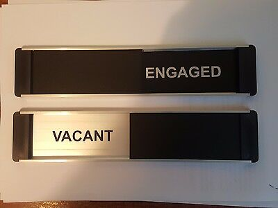 Viro Sliding Door Sign with Your Choice of Text Black // Silver Edition