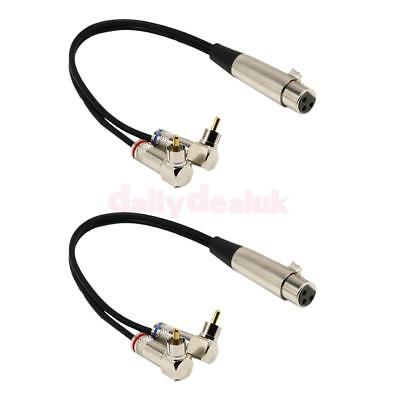 "2x 9"" XLR Female Adapter Plug to 2 x Phono Male RCA 90 Degree Splitter Cable"