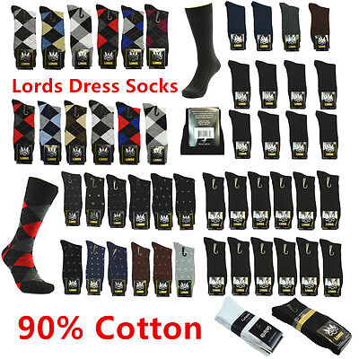 New Lords 12 Pairs/One Dozen For Mens Fashion Cotton Dress Socks Size 10-13