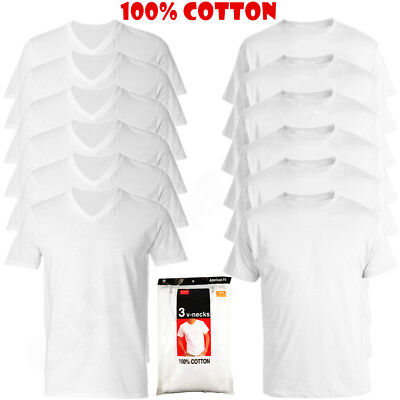 3 to 6 Pcs Men 100% Cotton Crew & V-Neck Tag less T-Shirt Undershirt White S-XL