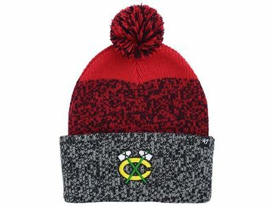 2106c5079b835 Chicago Blackhawks 47 Brand NHL Static Team Logo Pom Knit Hockey Beanie Hat