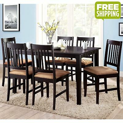 7pc Dining Room Kitchen Set Wood Table and 6 Cushioned Comfort Chairs Espresso