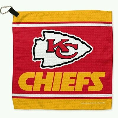 "Kansas City Chiefs 13""x13"" Sports Golf Waffle Towel With Attached Carabiner"