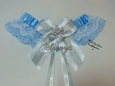 Harry Potter Deathly Hallows Blue Bridal Wedding Garter. Always.sparkle