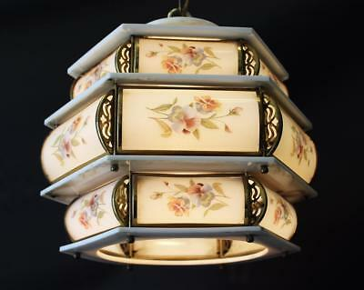 "VINTAGE Italian 3 Tiered 12"" x 13""  Floral PORCELAIN  Brass 1 Light  CHANDELIER"
