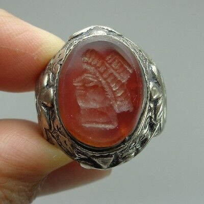Solid Emperor Beautiful Ancient Intaglio Agate Face Rare Stone Silver Ring Old