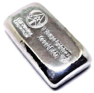 1 Troy Ounce .999 Fine Lead Bullion Bar - Hand Poured & Stamped - Grimm Metals