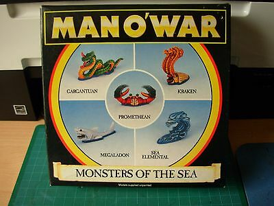 Fantasy Man o'War Monsters of the Sea with Box Metal Rare OOP