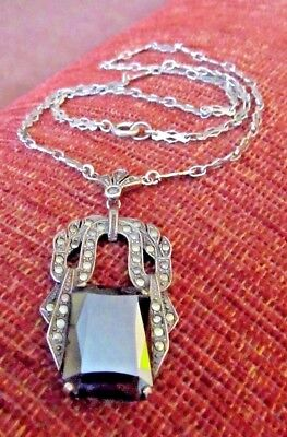 Vtg Art Deco Large Onyx Czech Glass & Marcasite Sterling Silver Necklace Germany