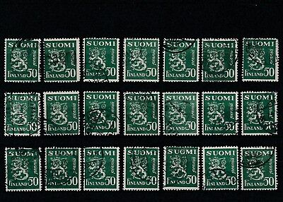 FINLAND - 1930 - GREEN - 50p - 21 X USED STAMPS.
