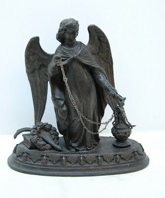 Beautiful Vintage Antique Cast Metal Angel Statue C.1909