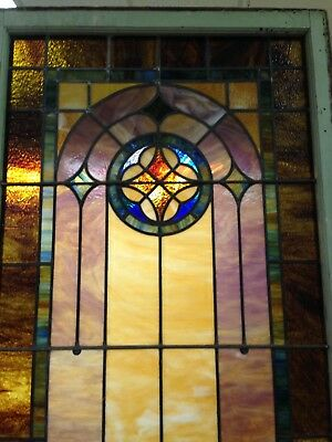 Antique vintage leaded Stained Glass window with all original glass