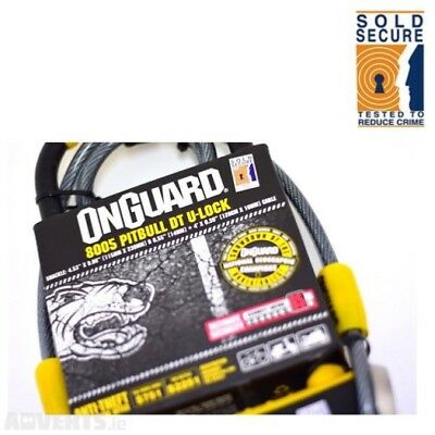 Onguard Motor Bike DT U Lock With Cable 8005 Pitbull Shackle Gold Sold Secure