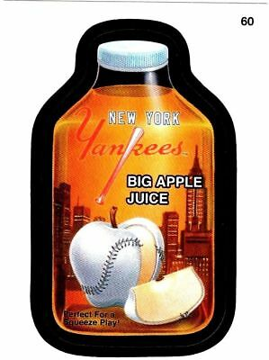 """2016 Wacky Packages Baseball Series 1 """"NY YANKEES APPLE JUICE"""" #60 Sticker Card"""