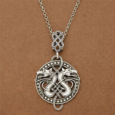 Viking Celtic Knots Dragon Necklace Hollowed-out Pendant Chic Norse Jewlery Mens
