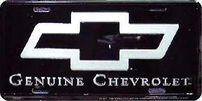 Genuine Chevrolet Black and Silver Embossed Metal License Plate / Sign