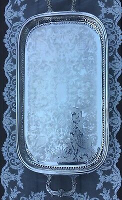 """Vintage Sheffield Silver Plate 24.5""""x 11.5"""" handled Tray-A Reed & Barton Co. USA"""