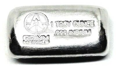 1 Troy Ounce .999 Fine Indium Bullion Bar - Hand Poured & Stamped - Grimm Metals