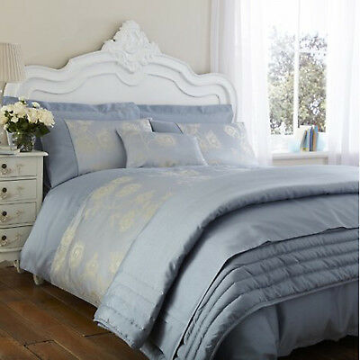 Luxury Antonia Duck Egg Blue Percale Bedding Duvet Cover Cushion Cover Bed Throw