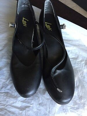 Women's Black Leather Sole LEOS Character Dance Shoes Size 7.5